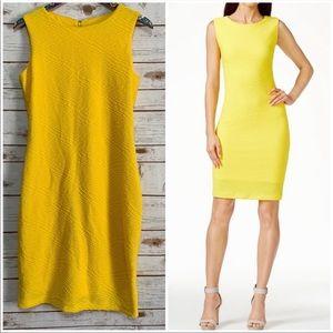 Calvin Klein yellow sleeveless bodycon dress